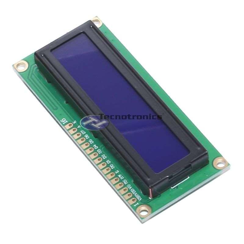Display LCD 16x2 com fundo azul