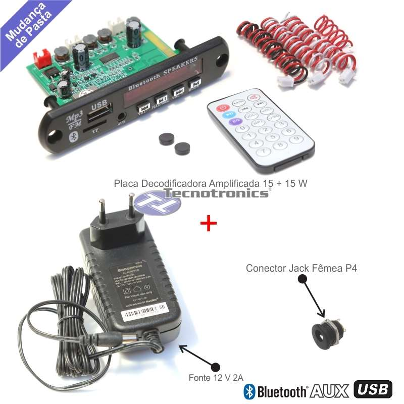 Placa Decodificadora USB Amplificada 15+15 Watts + Fonte 12V 2A