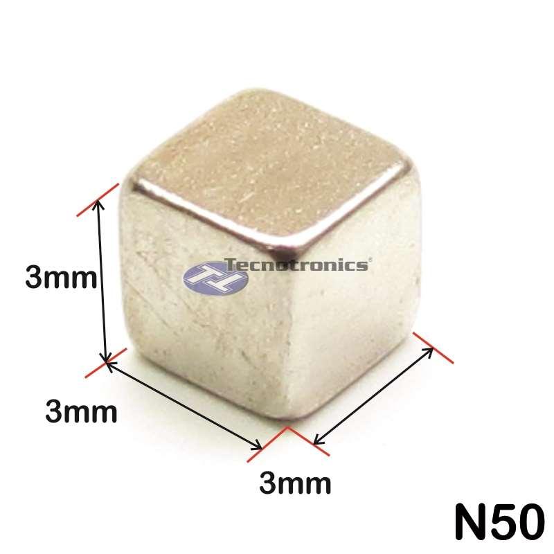 Super Imã de Neodímio 3x3x3 mm